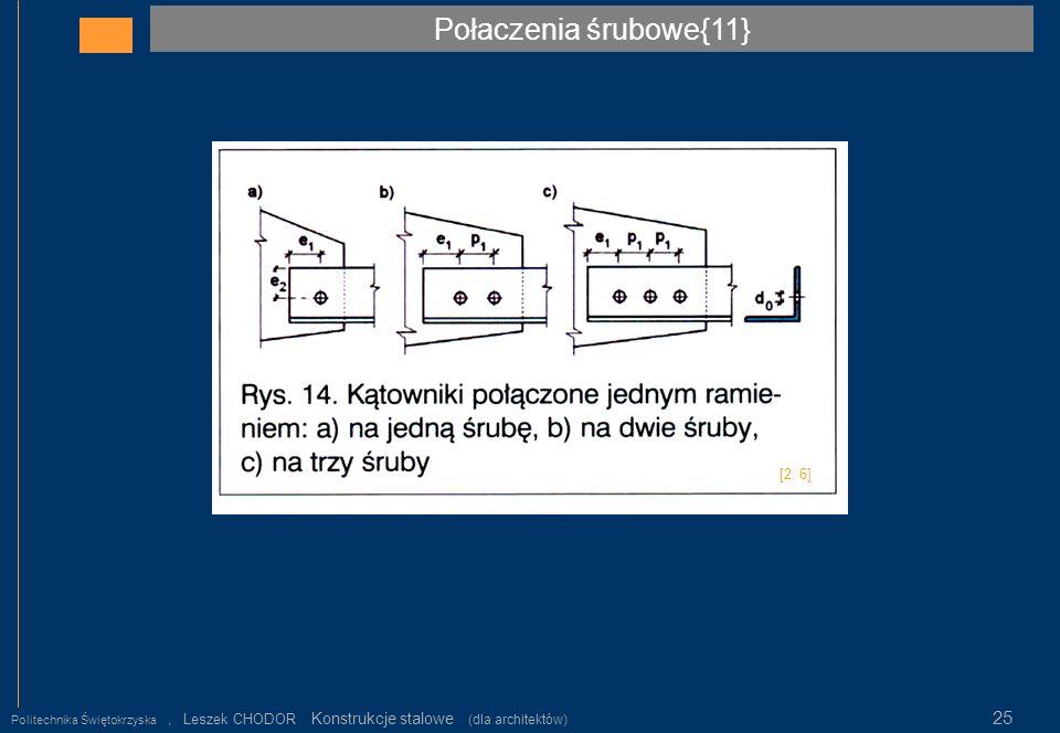 Połaczenia śrubowe{11} Politechnika Świętokrzyska, Leszek CHODOR Konstrukcje stalowe (dla architektów) 25 [2. 6]