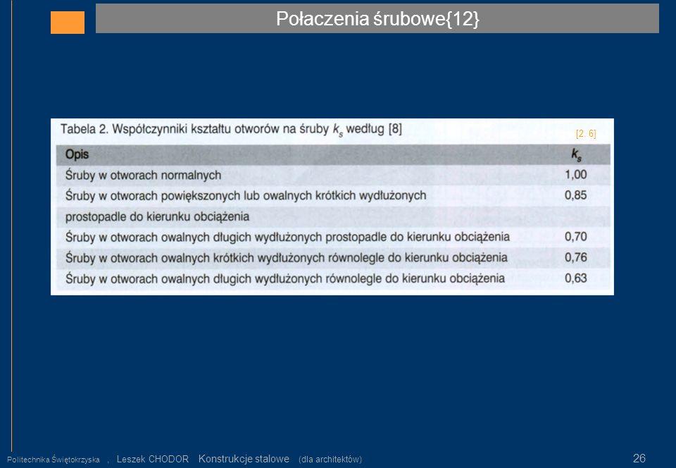 Połaczenia śrubowe{12} Politechnika Świętokrzyska, Leszek CHODOR Konstrukcje stalowe (dla architektów) 26 [2. 6]