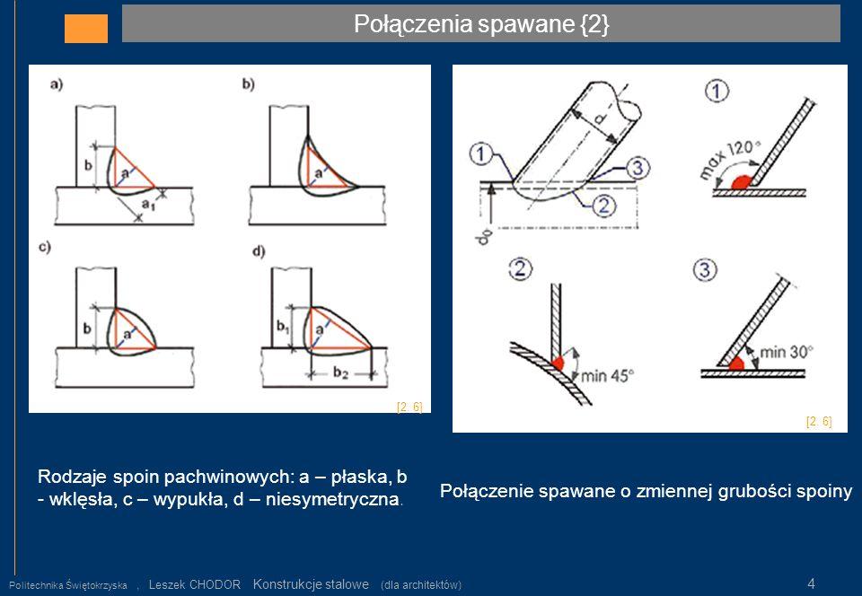 Połączenia spawane {2} Politechnika Świętokrzyska, Leszek CHODOR Konstrukcje stalowe (dla architektów) 4 Rodzaje spoin pachwinowych: a – płaska, b - w