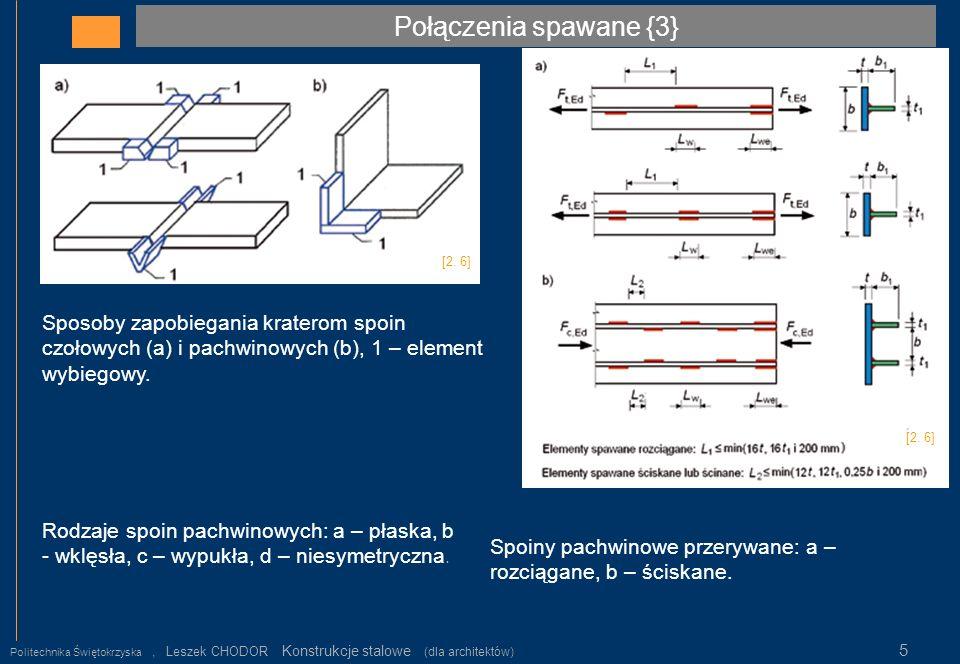 Połączenia spawane {3} Politechnika Świętokrzyska, Leszek CHODOR Konstrukcje stalowe (dla architektów) 5 Rodzaje spoin pachwinowych: a – płaska, b - w