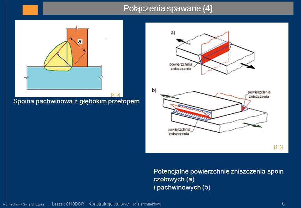 Połączenia spawane {4} Politechnika Świętokrzyska, Leszek CHODOR Konstrukcje stalowe (dla architektów) 6 Potencjalne powierzchnie zniszczenia spoin cz