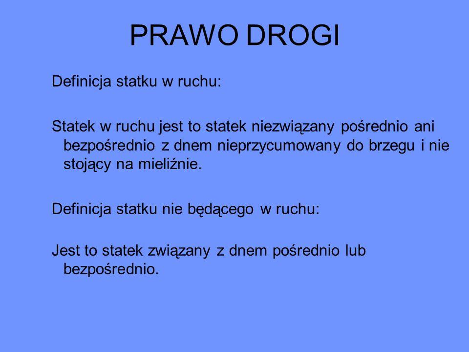 PRAWO DROGI 1.Statki sportowe i turystyczne ustępują statkom pasażerskim i towarowym.