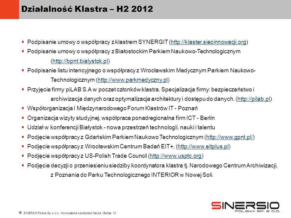SINERSIO Polska Sp. z o.o., Nowoczesna współpraca Nauka - Biznes 13 Działalność Klastra – H2 2012 Podpisanie umowy o współpracy z klastrem SYNERGIT (h