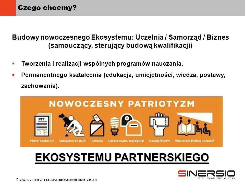 SINERSIO Polska Sp. z o.o., Nowoczesna współpraca Nauka - Biznes 16 Czego chcemy? Budowy nowoczesnego Ekosystemu: Uczelnia / Samorząd / Biznes (samouc