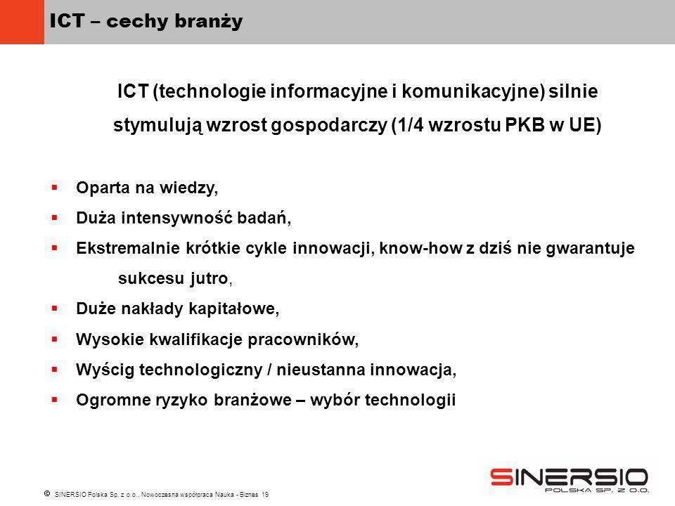 SINERSIO Polska Sp. z o.o., Nowoczesna współpraca Nauka - Biznes 19 ICT – cechy branży ICT (technologie informacyjne i komunikacyjne) silnie stymulują
