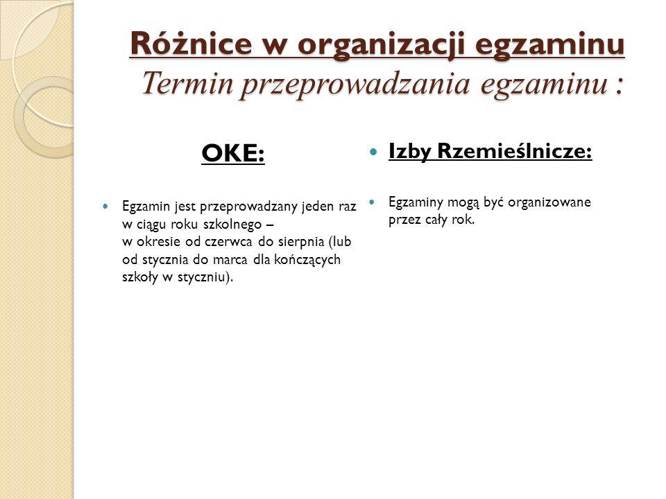 Różnice w organizacji egzaminu Termin przeprowadzania egzaminu : OKE: Egzamin jest przeprowadzany jeden raz w ciągu roku szkolnego – w okresie od czer