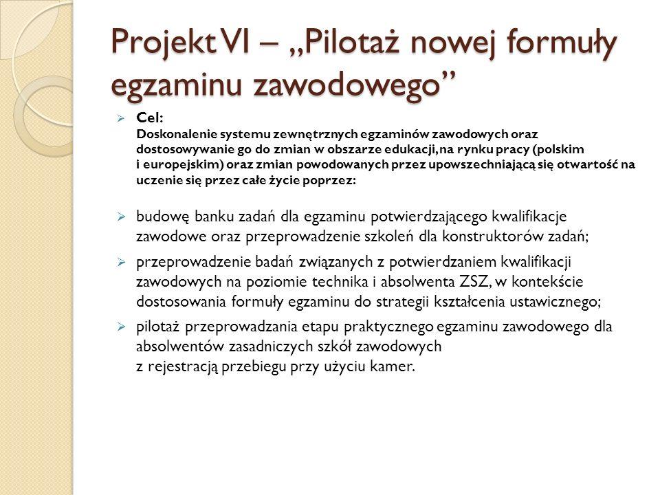 Cel: Doskonalenie systemu zewnętrznych egzaminów zawodowych oraz dostosowywanie go do zmian w obszarze edukacji, na rynku pracy (polskim i europejskim