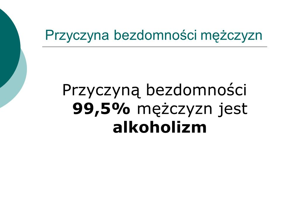Przyczyna bezdomności mężczyzn Przyczyną bezdomności 99,5% mężczyzn jest alkoholizm