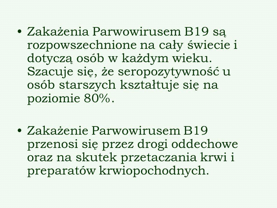 Zakażenia Parwowirusem B19 są rozpowszechnione na cały świecie i dotyczą osób w każdym wieku. Szacuje się, że seropozytywność u osób starszych kształt