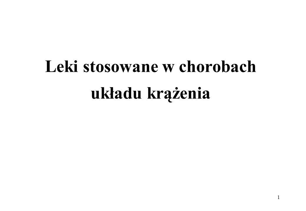 22 Glikozydy nasercowe -wskazania niewydolność krążenia pochodzenia sercowego, niewydolność krążenia z migotaniem przedsionków i szybką czynnością komór, częstoskurcz nadkomorowy, blok przedsionkowo-komorowy, napadowa tachykardii nadkomorowa strofantyna-stosowana w ostrej niewydolności krążenia (nie podaje się doustnie)