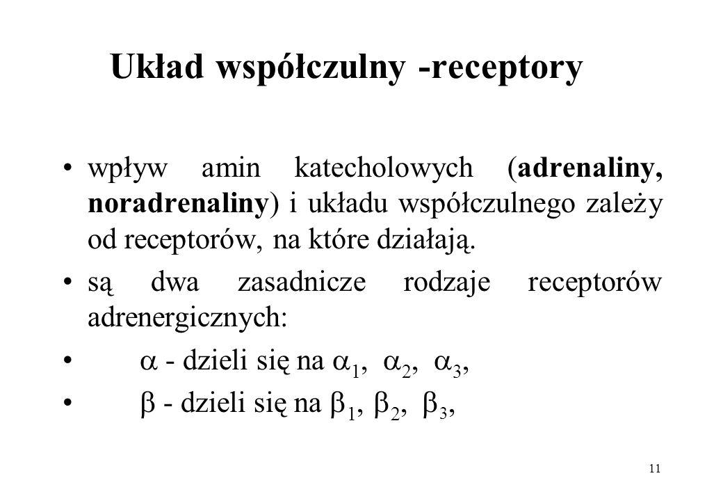 11 Układ współczulny -receptory wpływ amin katecholowych (adrenaliny, noradrenaliny) i układu współczulnego zależy od receptorów, na które działają. s