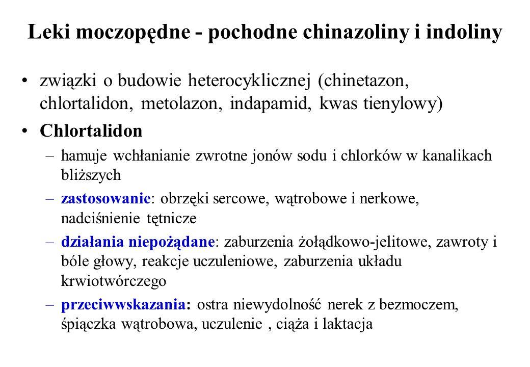 Leki moczopędne - pochodne chinazoliny i indoliny związki o budowie heterocyklicznej (chinetazon, chlortalidon, metolazon, indapamid, kwas tienylowy)