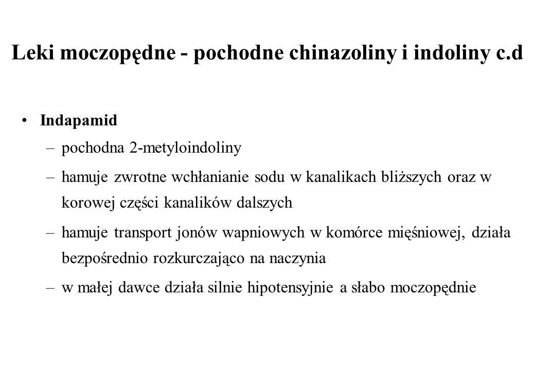 Leki moczopędne - pochodne chinazoliny i indoliny c.d Indapamid –pochodna 2-metyloindoliny –hamuje zwrotne wchłanianie sodu w kanalikach bliższych ora