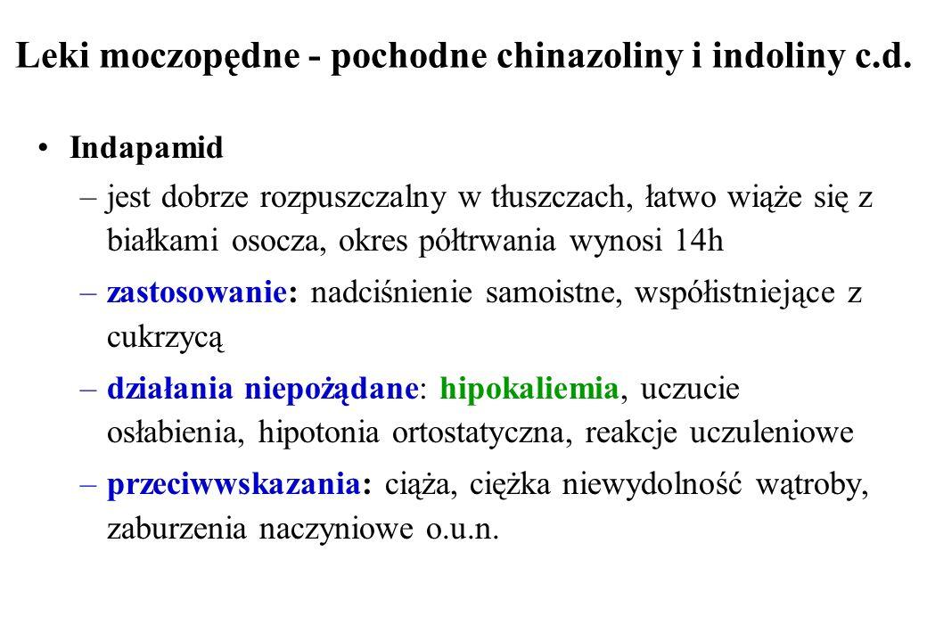 Leki moczopędne - pochodne chinazoliny i indoliny c.d. Indapamid –jest dobrze rozpuszczalny w tłuszczach, łatwo wiąże się z białkami osocza, okres pół