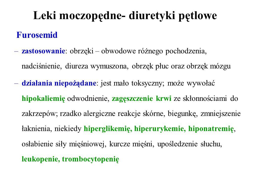 Leki moczopędne- diuretyki pętlowe Furosemid –zastosowanie: obrzęki – obwodowe różnego pochodzenia, nadciśnienie, diureza wymuszona, obrzęk płuc oraz