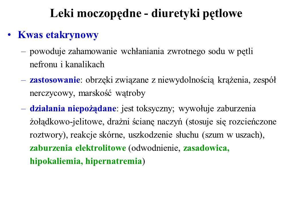 Leki moczopędne - diuretyki pętlowe Kwas etakrynowy –powoduje zahamowanie wchłaniania zwrotnego sodu w pętli nefronu i kanalikach –zastosowanie: obrzę