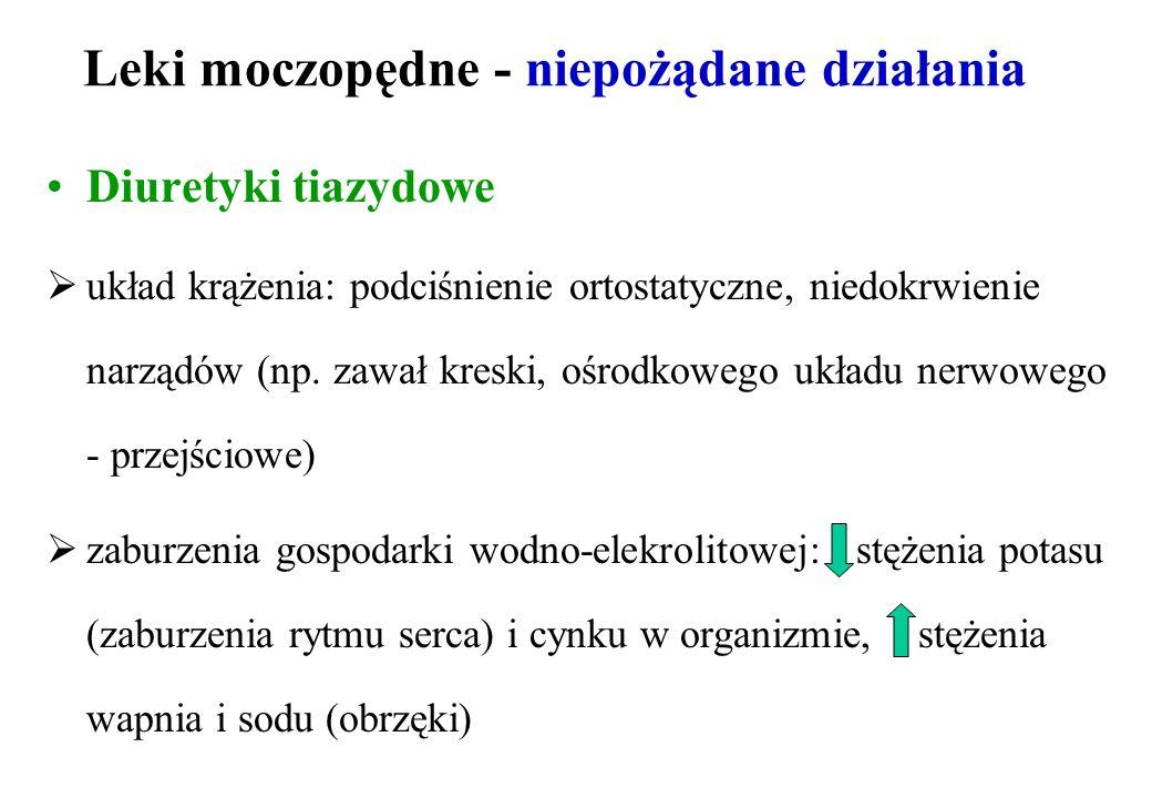 Leki moczopędne - niepożądane działania Diuretyki tiazydowe układ krążenia: podciśnienie ortostatyczne, niedokrwienie narządów (np. zawał kreski, ośro