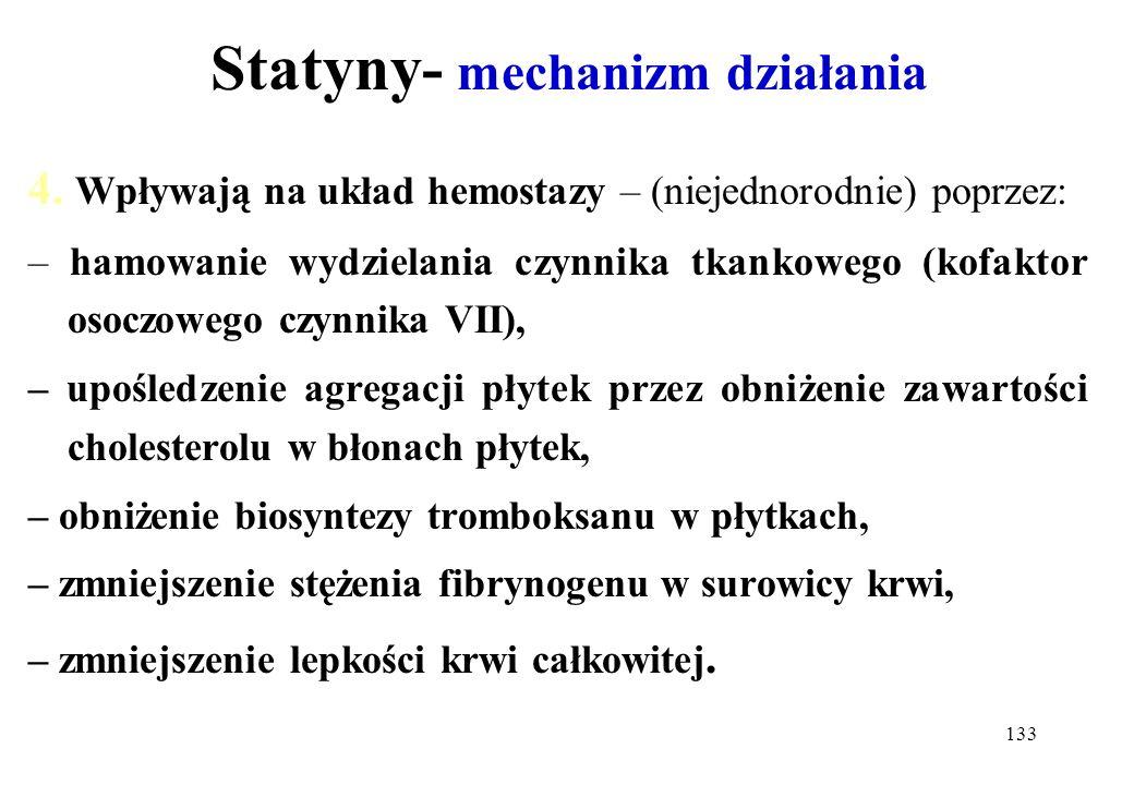 133 Statyny- mechanizm działania 4. Wpływają na układ hemostazy – (niejednorodnie) poprzez: – hamowanie wydzielania czynnika tkankowego (kofaktor osoc