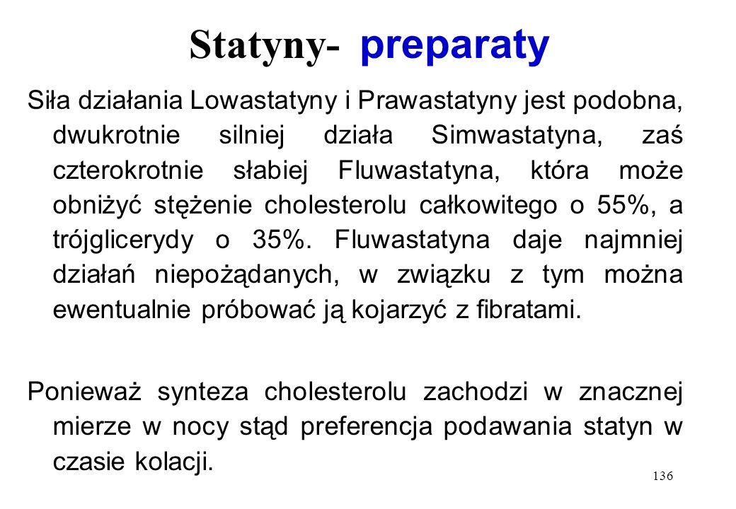 136 Statyny- preparaty Siła działania Lowastatyny i Prawastatyny jest podobna, dwukrotnie silniej działa Simwastatyna, zaś czterokrotnie słabiej Fluwa