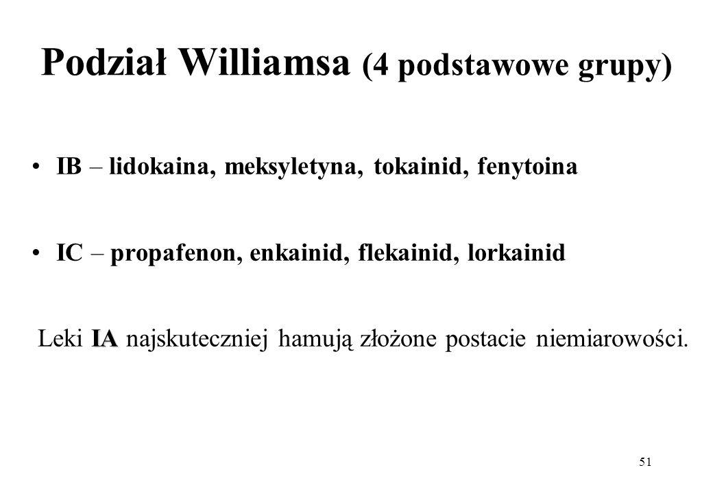 51 Podział Williamsa (4 podstawowe grupy) IB – lidokaina, meksyletyna, tokainid, fenytoina IC – propafenon, enkainid, flekainid, lorkainid IA Leki IA