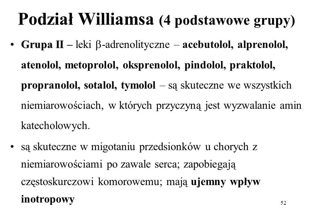52 Podział Williamsa (4 podstawowe grupy) Grupa IIGrupa II – leki -adrenolityczne – acebutolol, alprenolol, atenolol, metoprolol, oksprenolol, pindolo