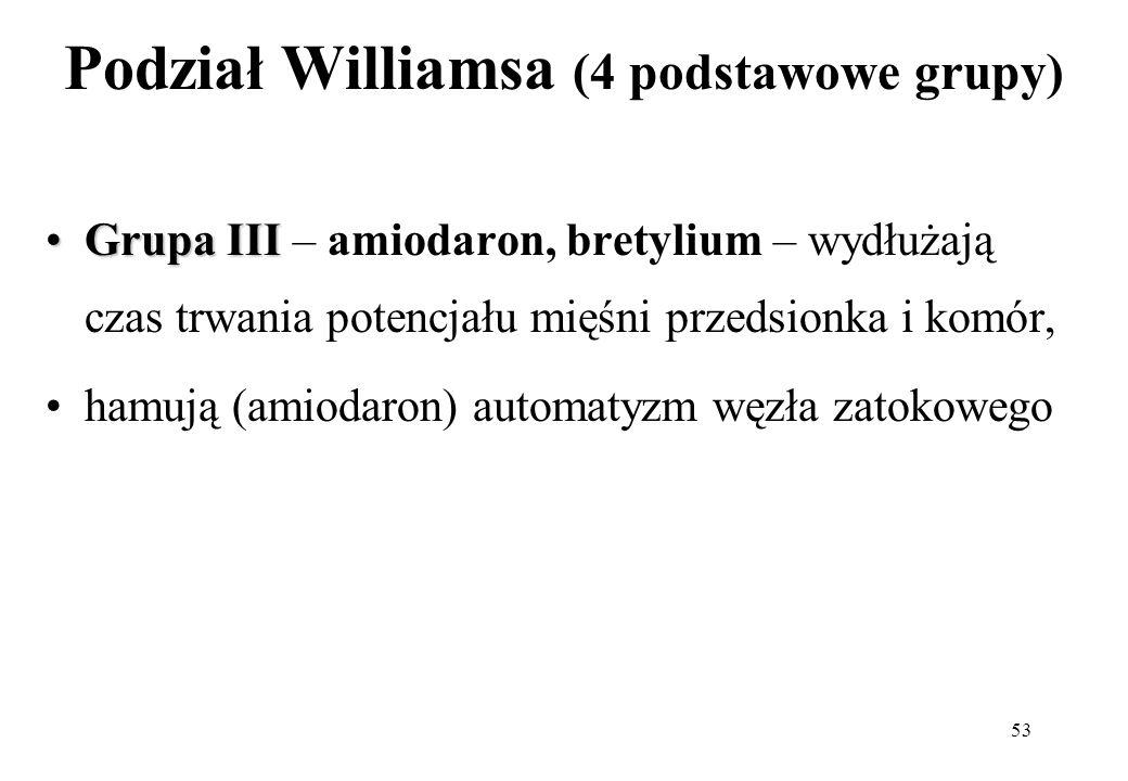 53 Podział Williamsa (4 podstawowe grupy) Grupa IIIGrupa III – amiodaron, bretylium – wydłużają czas trwania potencjału mięśni przedsionka i komór, ha