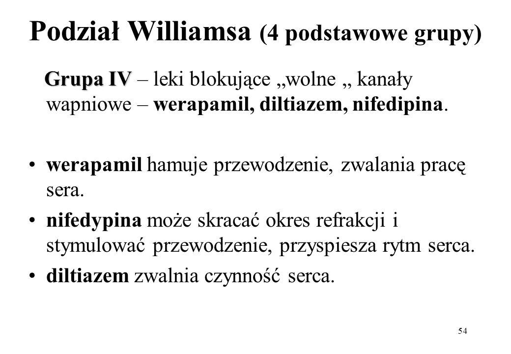 54 Podział Williamsa (4 podstawowe grupy) Grupa IV Grupa IV – leki blokujące wolne kanały wapniowe – werapamil, diltiazem, nifedipina. werapamil hamuj