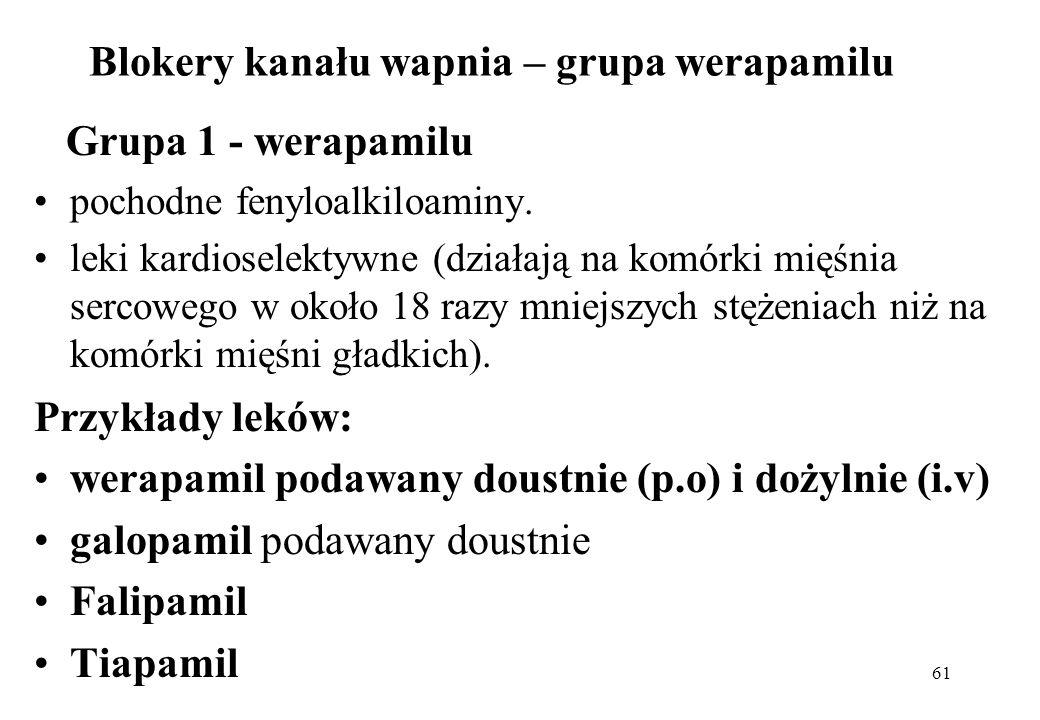 61 Blokery kanału wapnia – grupa werapamilu Grupa 1 - werapamilu pochodne fenyloalkiloaminy. leki kardioselektywne (działają na komórki mięśnia sercow