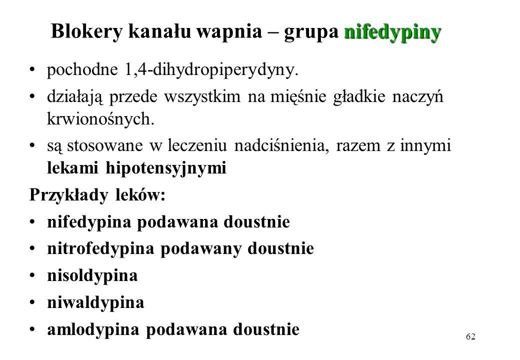 62 nifedypiny Blokery kanału wapnia – grupa nifedypiny pochodne 1,4-dihydropiperydyny. działają przede wszystkim na mięśnie gładkie naczyń krwionośnyc