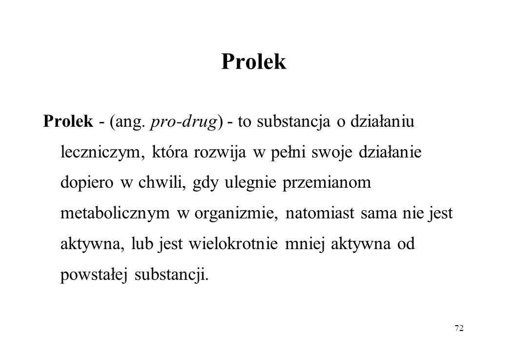 72 Prolek Prolek - (ang. pro-drug) - to substancja o działaniu leczniczym, która rozwija w pełni swoje działanie dopiero w chwili, gdy ulegnie przemia