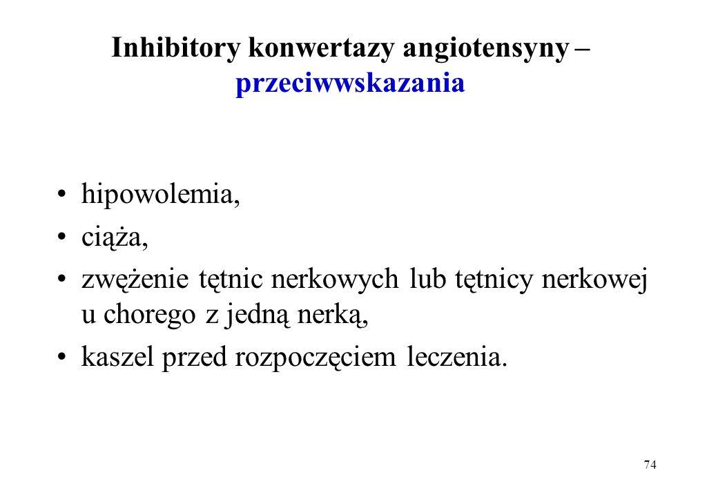 74 Inhibitory konwertazy angiotensyny – przeciwwskazania hipowolemia, ciąża, zwężenie tętnic nerkowych lub tętnicy nerkowej u chorego z jedną nerką, k