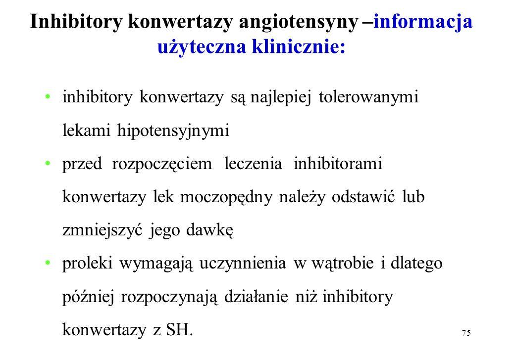 75 Inhibitory konwertazy angiotensyny –informacja użyteczna klinicznie: inhibitory konwertazy są najlepiej tolerowanymi lekami hipotensyjnymi przed ro