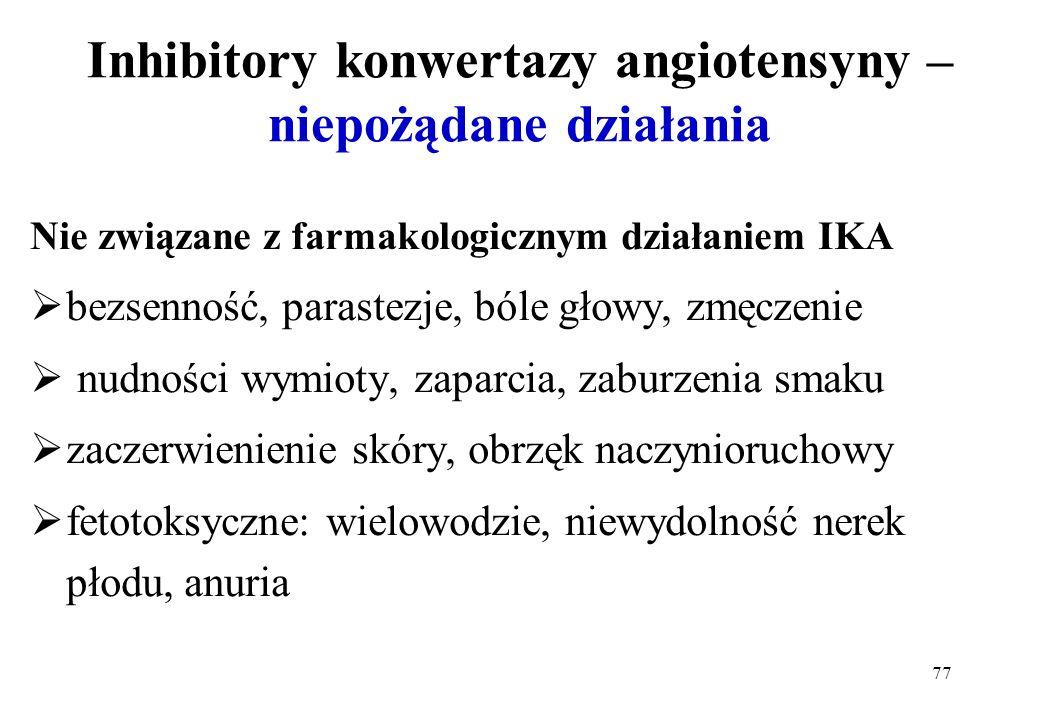 77 Inhibitory konwertazy angiotensyny – niepożądane działania Nie związane z farmakologicznym działaniem IKA bezsenność, parastezje, bóle głowy, zmęcz