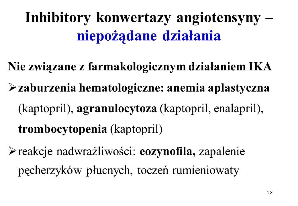78 Inhibitory konwertazy angiotensyny – niepożądane działania Nie związane z farmakologicznym działaniem IKA zaburzenia hematologiczne: anemia aplasty