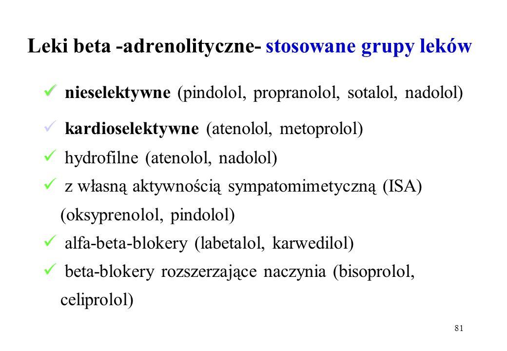 81 Leki beta -adrenolityczne- stosowane grupy leków nieselektywne (pindolol, propranolol, sotalol, nadolol) kardioselektywne (atenolol, metoprolol) hy