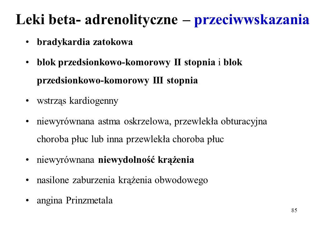 85 Leki beta- adrenolityczne – przeciwwskazania bradykardia zatokowa blok przedsionkowo-komorowy II stopnia i blok przedsionkowo-komorowy III stopnia