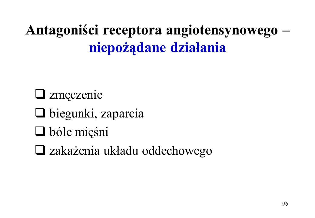 96 Antagoniści receptora angiotensynowego – niepożądane działania zmęczenie biegunki, zaparcia bóle mięśni zakażenia układu oddechowego