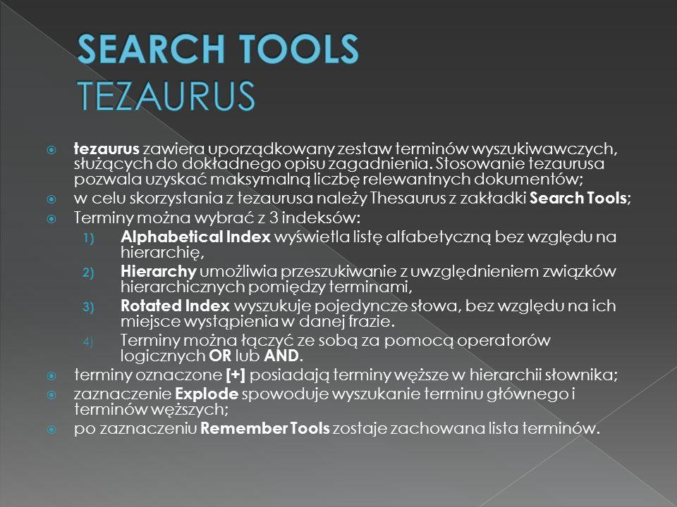 tezaurus zawiera uporządkowany zestaw terminów wyszukiwawczych, służących do dokładnego opisu zagadnienia. Stosowanie tezaurusa pozwala uzyskać maksym