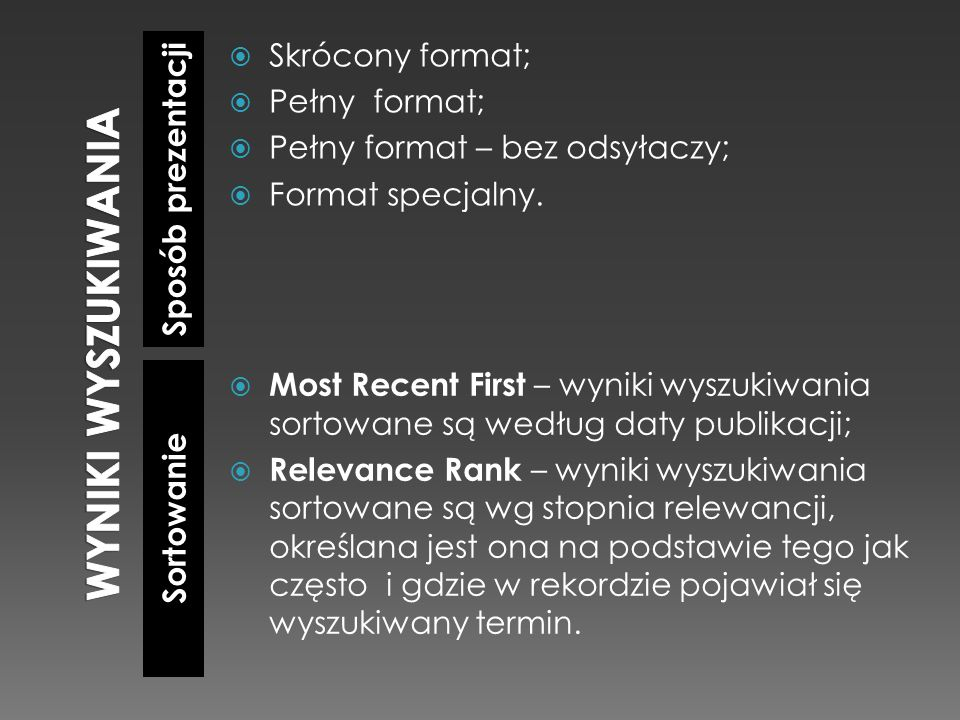 Sposób prezentacji Sortowanie Skrócony format; Pełny format; Pełny format – bez odsyłaczy; Format specjalny. Most Recent First – wyniki wyszukiwania s