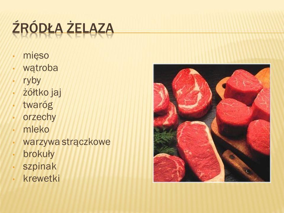 mięso wątroba ryby żółtko jaj twaróg orzechy mleko warzywa strączkowe brokuły szpinak krewetki