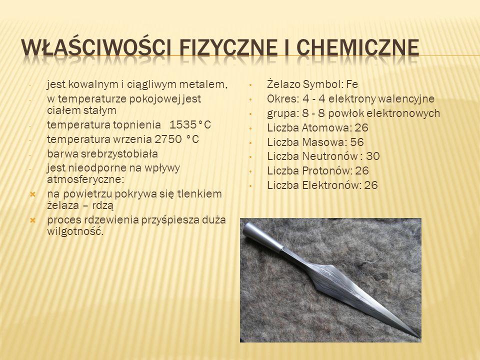 - jest kowalnym i ciągliwym metalem, - w temperaturze pokojowej jest ciałem stałym - temperatura topnienia 1535°C - temperatura wrzenia 2750 °C - barw