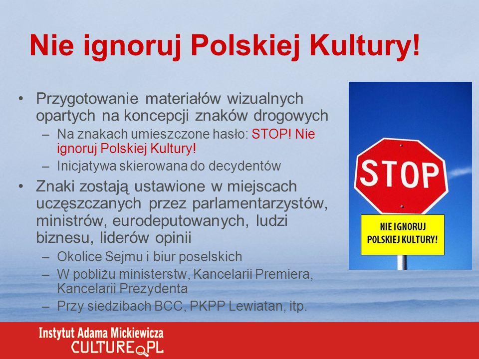 Nie ignoruj Polskiej Kultury! Przygotowanie materiałów wizualnych opartych na koncepcji znaków drogowych –Na znakach umieszczone hasło: STOP! Nie igno