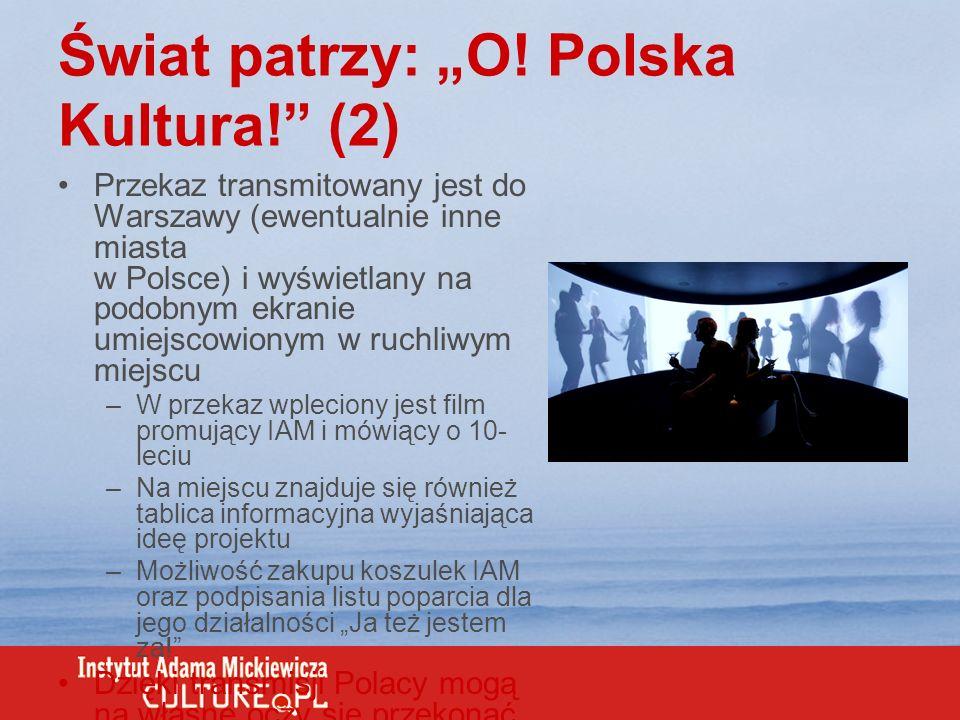 Świat patrzy: O! Polska Kultura! (2) Przekaz transmitowany jest do Warszawy (ewentualnie inne miasta w Polsce) i wyświetlany na podobnym ekranie umiej
