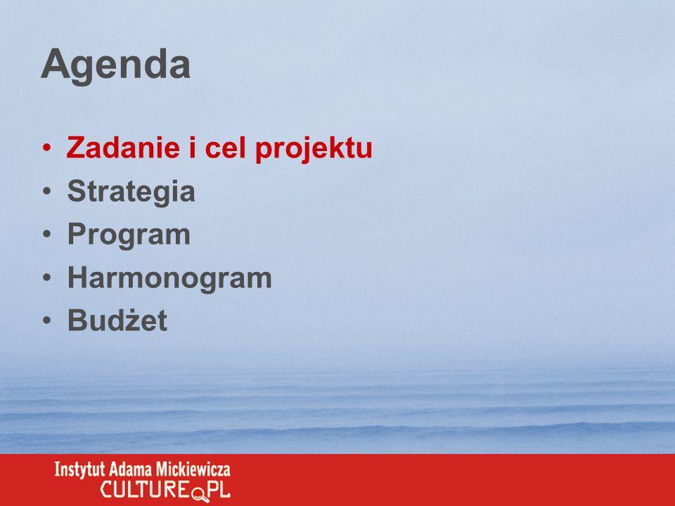 Zadanie Opracowanie strategii wspierającej 10- lecie Instytutu Adama Mickiewicza (IAM) Przygotowanie programu kampanii skierowanej do zdefiniowanych grup docelowych Nagłośnienie działalności IAM w mediach