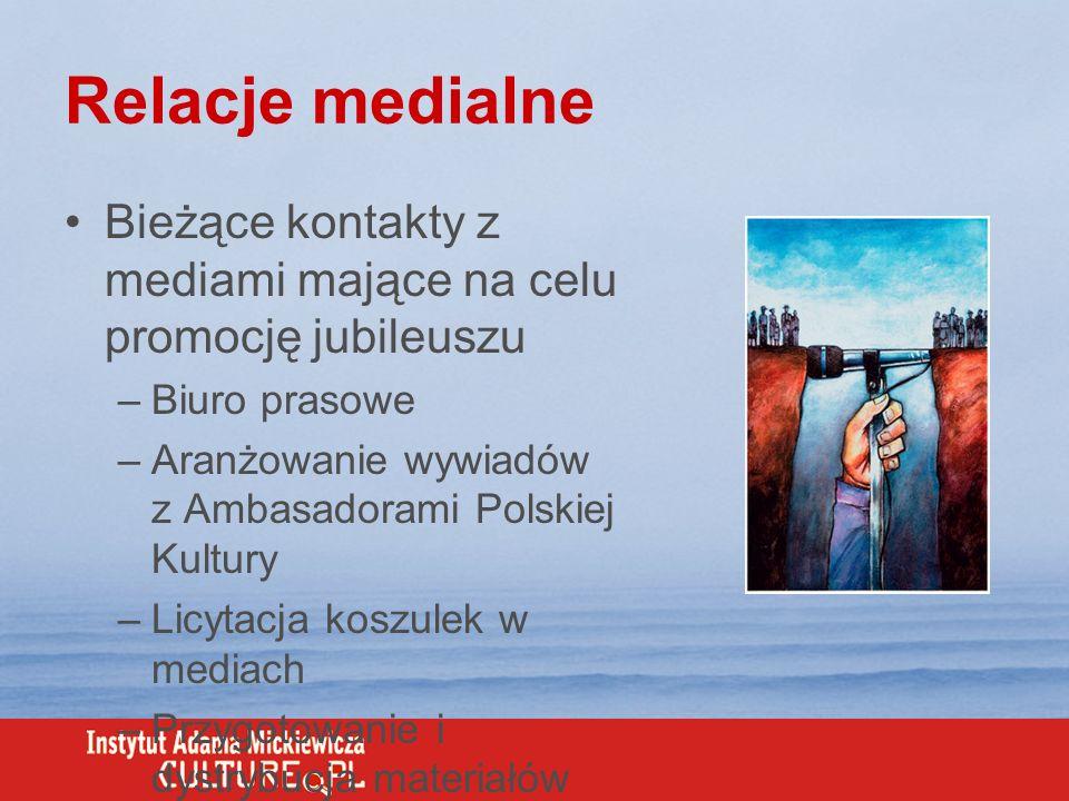 Relacje medialne Bieżące kontakty z mediami mające na celu promocję jubileuszu –Biuro prasowe –Aranżowanie wywiadów z Ambasadorami Polskiej Kultury –L