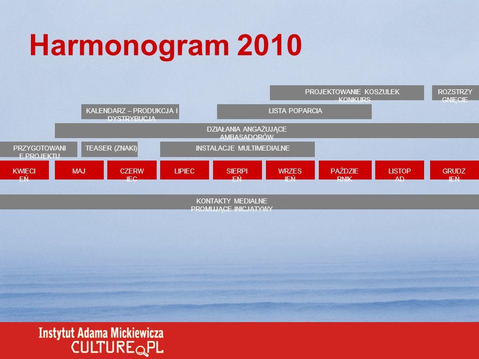 Harmonogram 2010 KWIECI EŃ MAJCZERW IEC LIPIECSIERPI EŃ WRZES IEŃ PAŹDZIE RNIK LISTOP AD GRUDZ IEŃ PRZYGOTOWANI E PROJEKTU DZIAŁANIA ANGAŻUJĄCE AMBASA