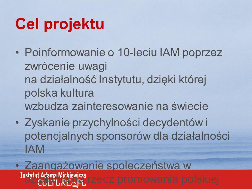 Cel projektu Poinformowanie o 10-leciu IAM poprzez zwrócenie uwagi na działalność Instytutu, dzięki której polska kultura wzbudza zainteresowanie na ś