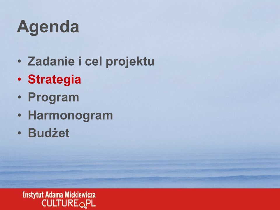 Grupy docelowe PolitycySponsorzy MediaSpołeczeństw o mieszkańcy polskich miast wykształcenie średnie + aktywny udział w życiu społecznym media opiniotwórcze media lifestyle prasa codzienna programy informacyjne programy kulturalne