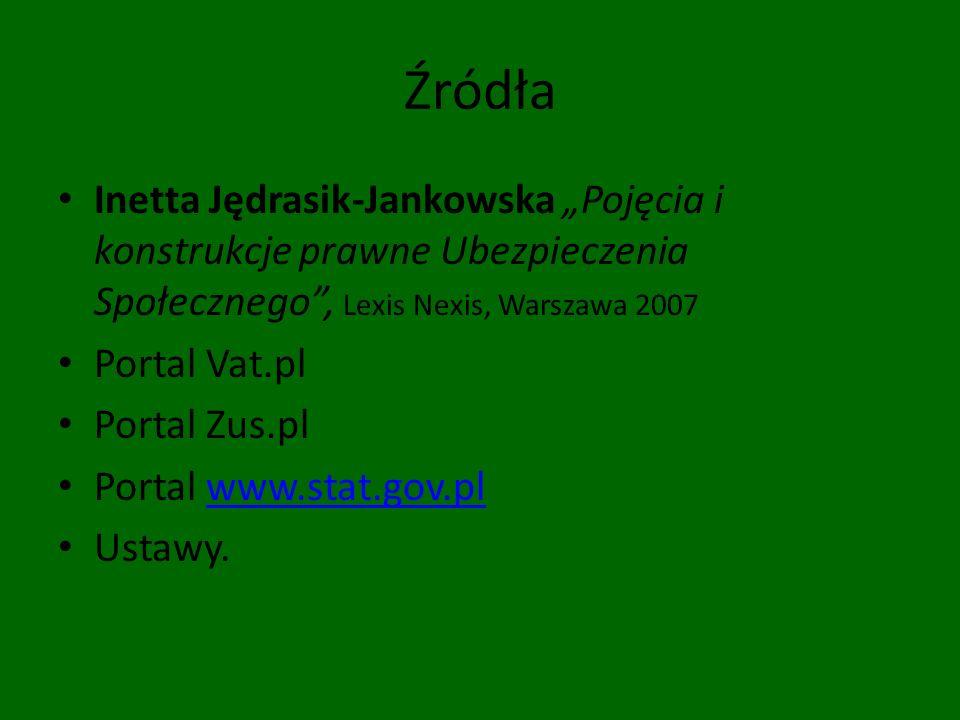 Źródła Inetta Jędrasik-Jankowska Pojęcia i konstrukcje prawne Ubezpieczenia Społecznego, Lexis Nexis, Warszawa 2007 Portal Vat.pl Portal Zus.pl Portal