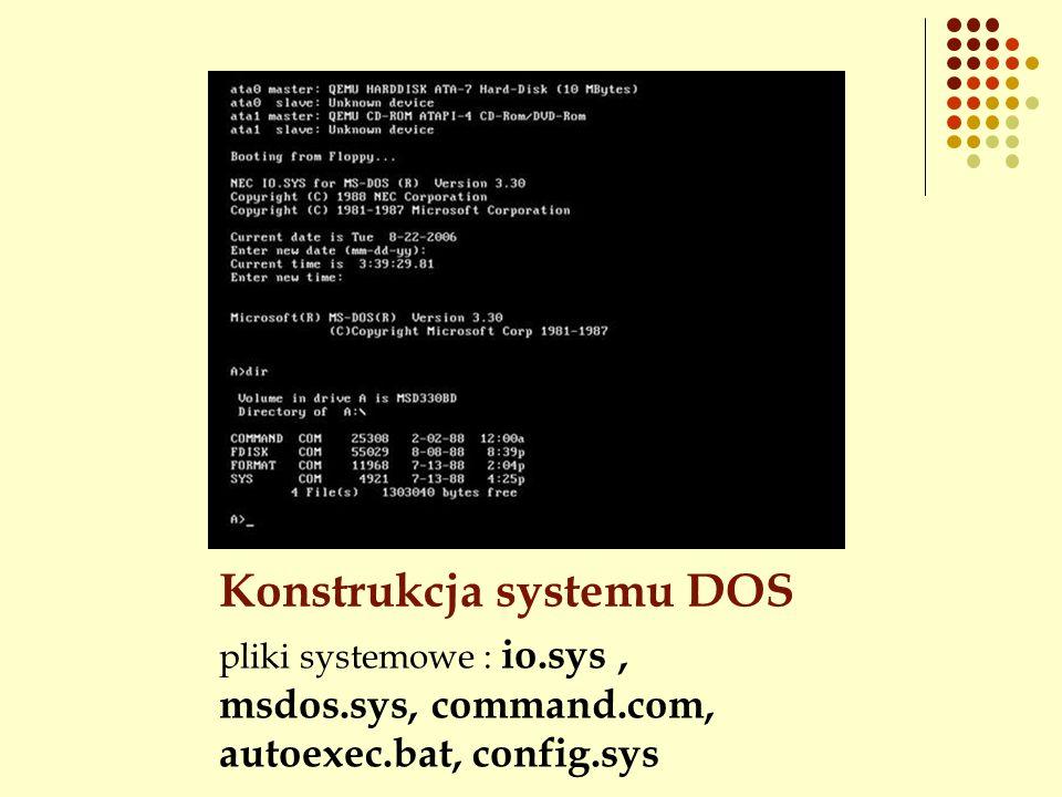 Konstrukcja systemu DOS pliki systemowe : io.sys, msdos.sys, command.com, autoexec.bat, config.sys